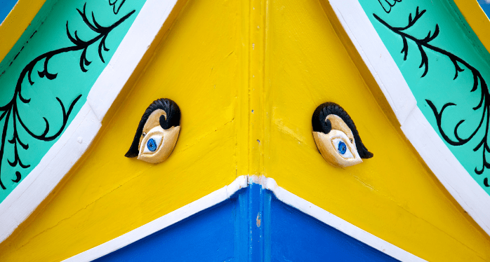 eyes on a traditional Maltese fishing boat