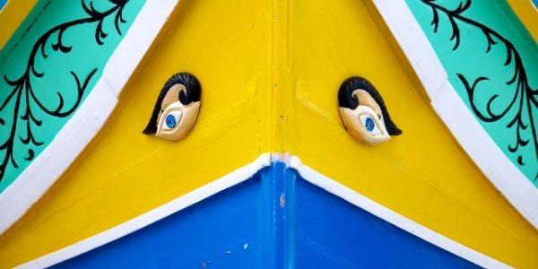 eyes on Maltese fishing boat