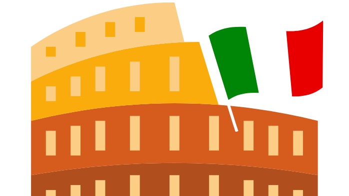 clip art of the Colosseum in Rome and an Italian flag