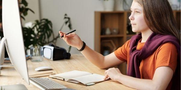 teenage student studying online