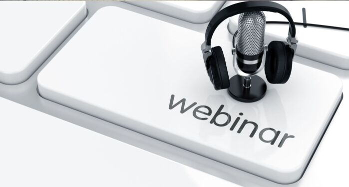 headphones, a microphone and the word 'webinar'