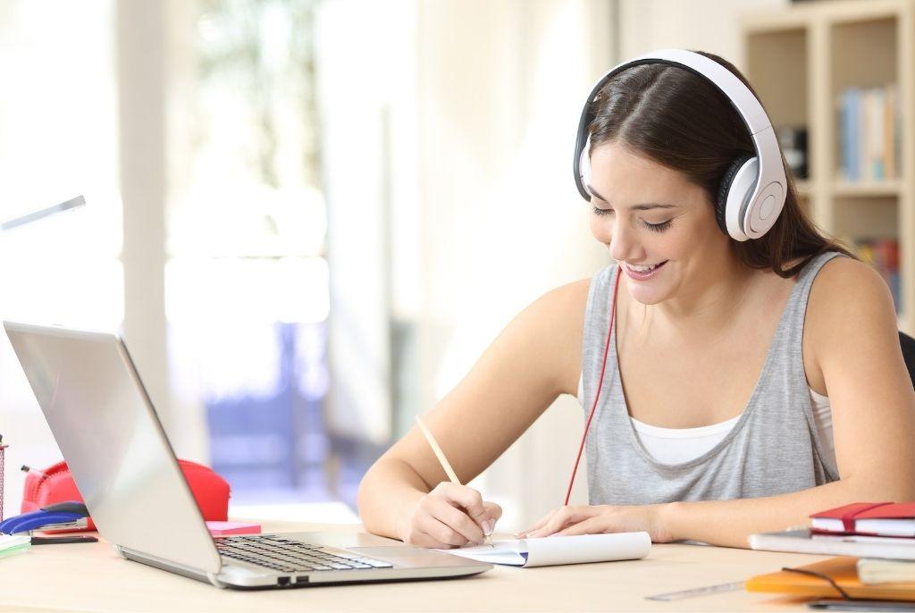 female student preparing for IELTS exam